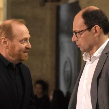 Ludovic Pinette et Denis Podalydès en tournage au Lycée Henri IV